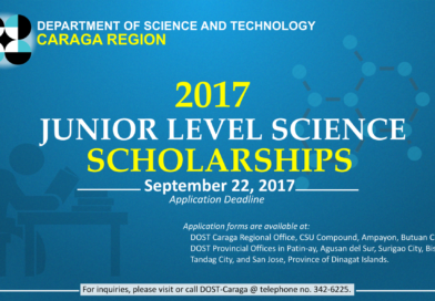 DOST Caraga announces scholarships for  Junior College Students for SY 2017-2018